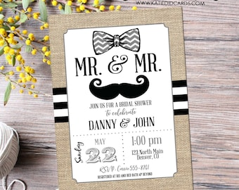 bow tie couples shower Invitation mustache two grooms Bridal gay wedding rustic black white stripe burlap twins LGBT | 369 Katiedid Designs
