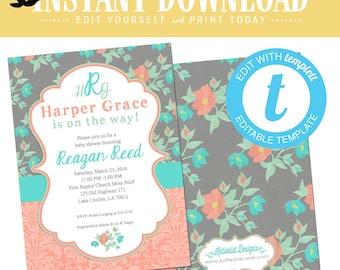Spring Floral Baby Girl Shower Invitation, Mint Coral Gray, Twins monogram birthday bridal shower | 1335 Katiedid Designs