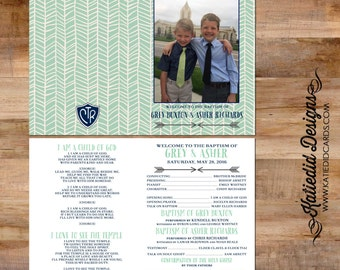 LDS baptism program mormon christening tribal arrow herringbone picture photo great to be 8 eight gray mint navy CTR boy | 714 Katiedid