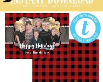 buffalo plaid christmas, christmas cards with photo, lumberjack rustic picture templett | 822 Katiedid