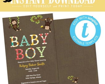 Monkey Baby Shower Invitation, Safari coed twins boy baby shower, birthday party | 121 Katiedid cards editable