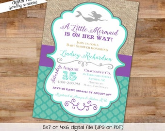 Mermaid invitation couples baby shower Purple teal 1st birthday party Under the sea burlap coed sip see sprinkle gay | 1365 Katiedid Designs