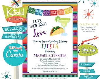 Taco Bout Love Fiesta Invitation for Wedding, Engagement Party or edit for ANY Event | 305 Katiedid Designs