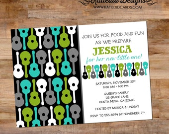 groovy guitar rockstar baby boy shower invitation couples coed black green teal gray sprinkle birthday sprinkle sip see LGBT | 1298 Katiedid