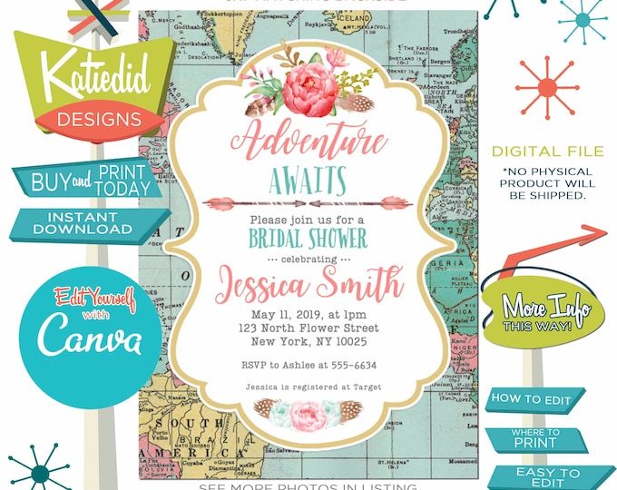 Featured listing image: Adventure Awaits Bridal Shower Invitation, BOHO Rehearsal Dinner Engagement Party or edit for ANY event | 370 Katiedid