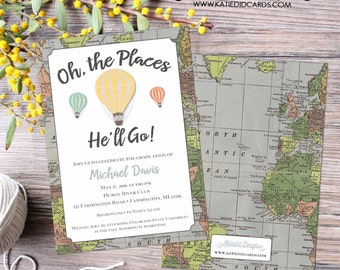 High School Graduation Announcement, Oh The Places You'll Go Graduation, Travel theme, Hot air balloons world map | 1243 Katiedid Designs