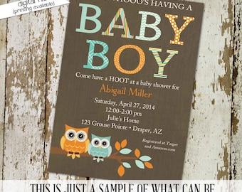 owl baby shower invitation boy couples coed orange aqua gender reveal birth announcement sprinkle sip see books brunch | 1285 Katiedid cards