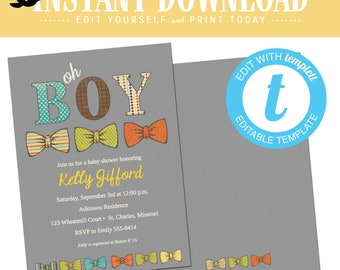 Bow Tie Baby Boy Shower Invitation, Oh Boy First Birthday Invite, Printable editable templett | 1239 Katiedid Designs
