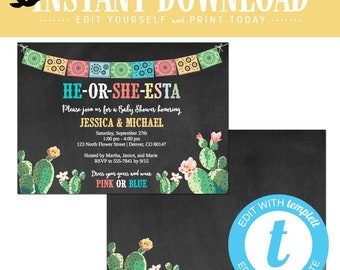 Fiesta gender reveal invitation, Cinco de mayo baby shower, editable cactus couples twins announcement | 1490 Katiedid Designs