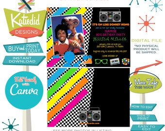 80s Party Invitation with Photo, High School Reunion, Retirement or change wording for Any Event | 260 Katiedid