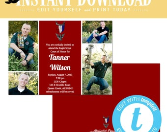 Eagle scout court of honor graduation invitation patriotic LDS announcement high school Boy teenager birthday Mormon editable | 601 Katiedid