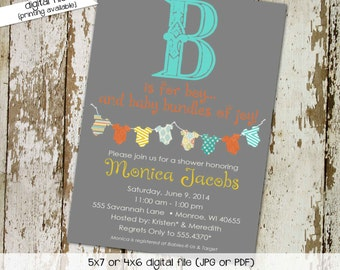 Gender reveal invitation neutral couples coed baby shower onesie bunting banner twins sprinkle sip see diaper wipes | 130 Katiedid Designs