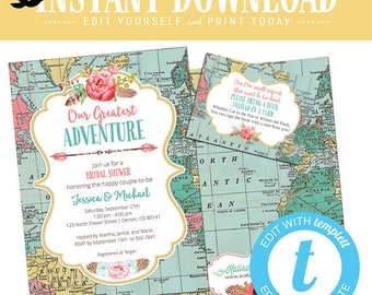 travel miss to mrs theme couple shower invitation baby bridal stock the bar i do bbq engagement party boho tribal adventure | 370 Katiedid