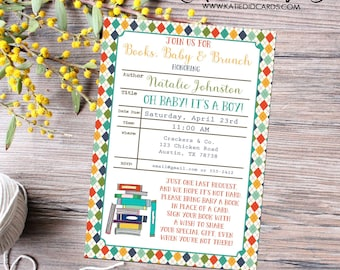 Once upon a time gender reveal invitation baby shower library card bring a book storybook theme neutral couples coed | 12112 Katiedid Cards