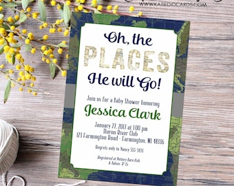 High School Graduation Announcement, Oh The Places You'll Go Graduation Party, Travel Theme World Map Invitation | 12115 Katiedid Cards