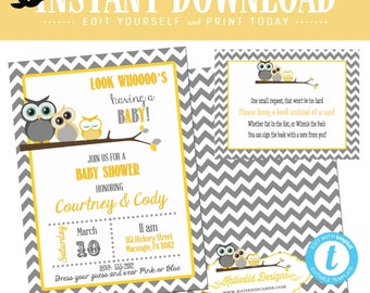 gender reveal invitation Owl baby shower neutral couples coed diaper wipes twins sprinkle yellow gray chevron editable | 1404 Katiedid Card