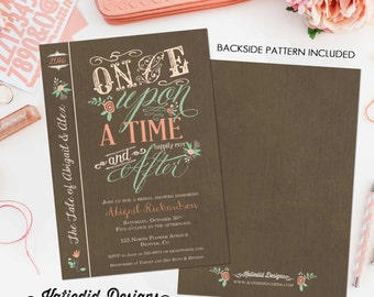 Couples shower Invitation happily ever after bridal Rehearsal Dinner I do BBQ engagement party stock the bar once upon time | 1379 Katiedid