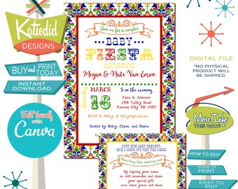 Fiesta invitation gender reveal baby shower neutral couples coed I do BBQ engagement party stock the bar twins editable gay | 1424 Katiedid