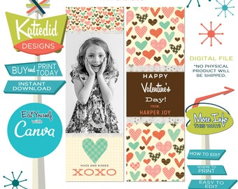 Cute Valentine Bookmark with Photo of Child, Valentine Download, Valentine Card for School, Edit with Canva  | Katiedid Designs