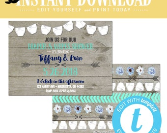 Baby boy shower invitation rustic diaper wipe tribal boho gender reveal neutral navy mint gray twins couples coed editable | 1417 Katiedid