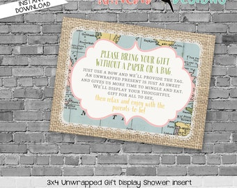 Display shower insert Unwrapped gift enclosure card Hot air balloon Adventure Awaits Gender reveal invitation Couples | 1455 Katiedid Cards