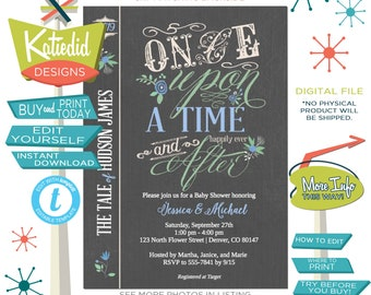 Once upon a time baby shower invitation storybook Rustic floral couples coed diaper wipes brunch happily ever after editable | 228 Katiedid