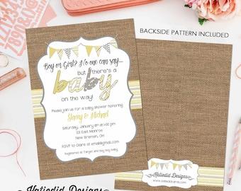 baby shower invitation gender neutral burlap yellow gray reveal couples coed rustic sprinkle twins sip see diaper wipes | 1417b Katiedid