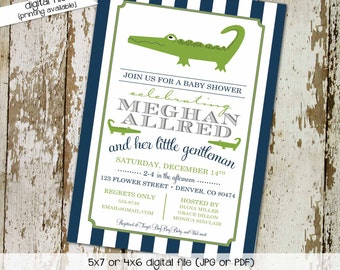 alligator little man couples baby shower invitation coed diaper wipes brunch sprinkle sip see birthday navy stripe | 12101 Katiedid Designs