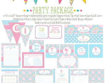 rustic baby girl shower invitation diaper wipe brunch it's a girl pink aqua paisley baby shower party package banner 1302 katiedid designs