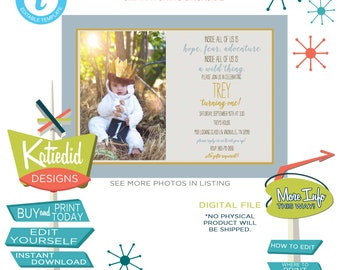 where the wild things are invitations, wild one birthday boy, baby boy shower invitation | 2016 Katiedid Designs