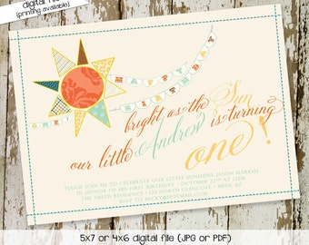 you are my sunshine birthday invitation brighter than the sun first communion baptism christening 1st baby boy twins | 201 Katiedid Designs