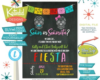 Taco Bout a Baby, Fiesta Baby Shower Invitation, Day of the Dead Halloween Gender Reveal | 1460 Katiedid