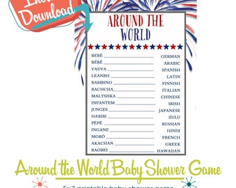Around the World Baby Shower Game, Travel Theme Party, Baby in Different Languages 4th of July | 1478 Katiedid Designs