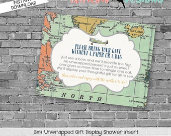 display shower insert | unwrapped gift enclosure card | vintage airplane baby shower | World Map | Adventure Awaits | co-ed | 12124 Katiedid