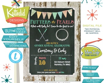 Putters or Pearls Gender Reveal Invitation, Twin Baby Shower, Golf Theme Couple Shower, Editable   1474 Katiedid Designs