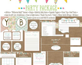 surprise gender burlap diaper wipe brunch co-ed baby shower party package bunting banner wishes for baby bingo advice 1437 Katiedid designs
