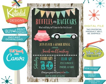 Gender Reveal Invitation Ruffles or Racecars, Twin Baby Shower or Birthday Party | 1473 Katiedid