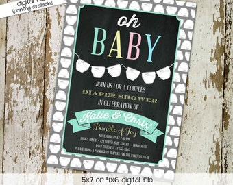 Gender reveal invitation couples baby shower coed twins diaper wipes neutral sprinkle sip see chalkboard oh girl boy mint | 1448 Katiedid