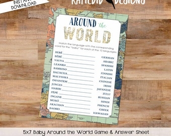 Travel Theme Party Game, Around the World Baby Shower, Navy Blue Mint Green Map | 1466 Katiedid Designs