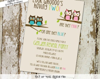 Twin gender reveal invitation he or she gender reveal invitation Owl baby shower invitation Diaper wipe brunch Gay | 1513 Katiedid Designs