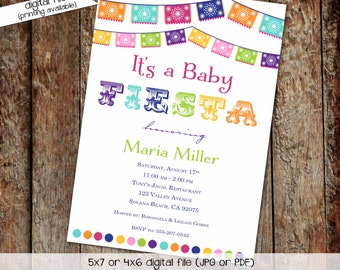 Cinco de Mayo Gender reveal fiesta invitation couples baby shower twins papel picado taco bout baby | 1401 Katiedid Designs