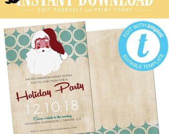Midcentury Holiday Party Invitations, Modern Retro Santa ugly christmas sweater, editable templett | 890 Katiedid Designs