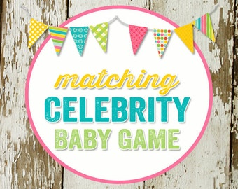 CELEBRITY BABY GAME to match any design for baby shower or party, digital, printable file katiedid designs cards