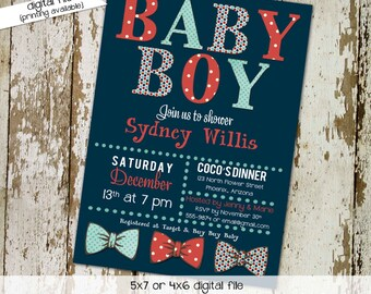 little man bow tie baby shower invitation boy gentleman first 1st birthday diaper wipes brunch couples coed retirement | 1254 Katiedid Cards