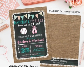 gender reveal invitation baseball or ballet burlap lace couples baby shower twins chalkboard coed birthday neutral | 1412 katiedid designs