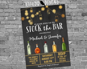 stock the bar rehearsal dinner invitation Couples Shower bridal bottle string light I do BBQ engagement party housewarming | 334 Katiedid