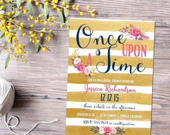 Storybook baby shower invitation Once upon a time baby shower Gold stripe floral shower invitation Couples Bridal Invitation   1436 Katiedid