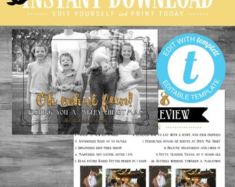 family photo christmas card, year in review newsletter with photos pictures merry christmas happy new year templett | 802 Katiedid