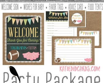 touchdowns or tutus gender reveal surprise gender burlap lace baby shower party package welcome sign thank you card 1431 katiedid designs