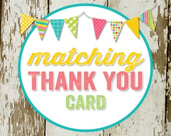 THANK YOU CARD to match any design for baby shower or party, digital, printable file katiedid designs cards